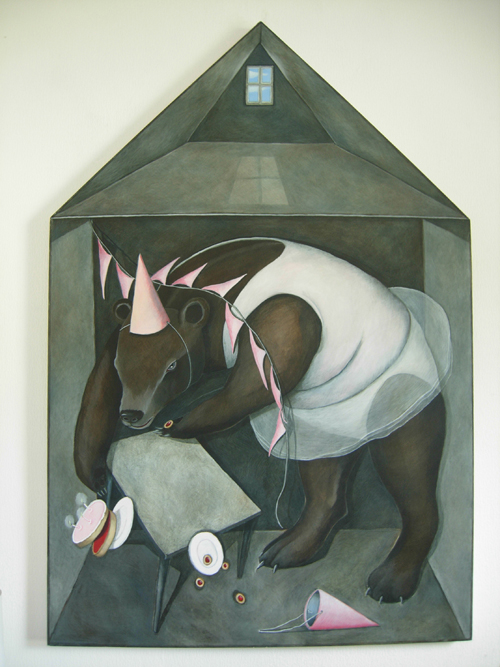 Painting of house and bear by Luci Gorell Barnes