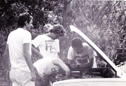 Mending the van in Nicaragua